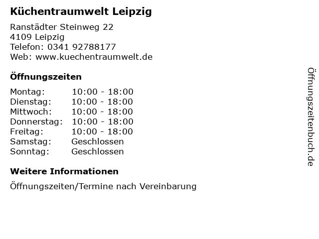 ᐅ Offnungszeiten Kuchentraumwelt Leipzig Ranstadter Steinweg 22