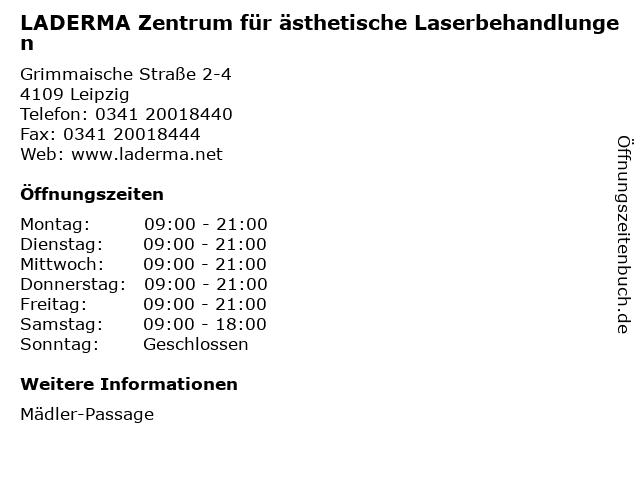 LADERMA Zentrum für ästhetische Laserbehandlungen in Leipzig: Adresse und Öffnungszeiten