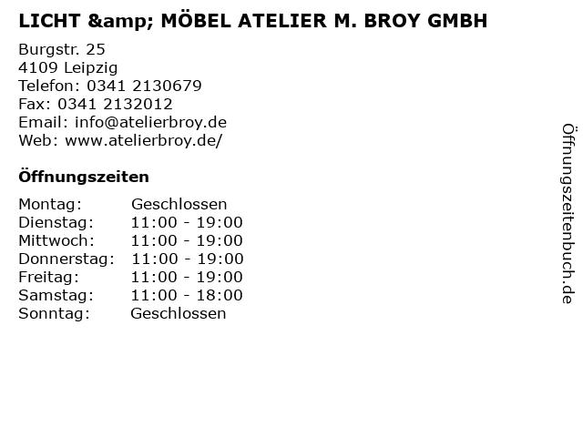 LICHT & MÖBEL ATELIER M. BROY GMBH in Leipzig: Adresse und Öffnungszeiten
