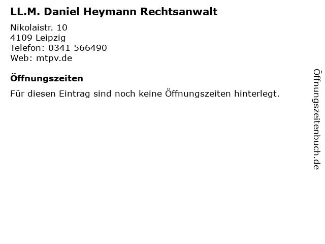 LL.M. Daniel Heymann Rechtsanwalt in Leipzig: Adresse und Öffnungszeiten