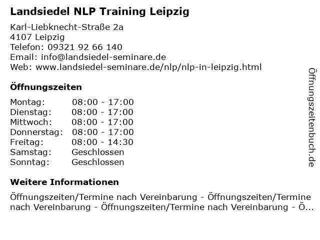 Landsiedel NLP Training Leipzig in Leipzig: Adresse und Öffnungszeiten