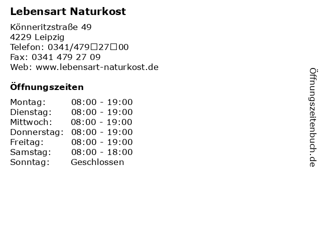 Lebensart Naturkost in Leipzig: Adresse und Öffnungszeiten