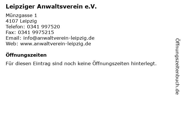 Leipziger Anwaltsverein e.V. in Leipzig: Adresse und Öffnungszeiten
