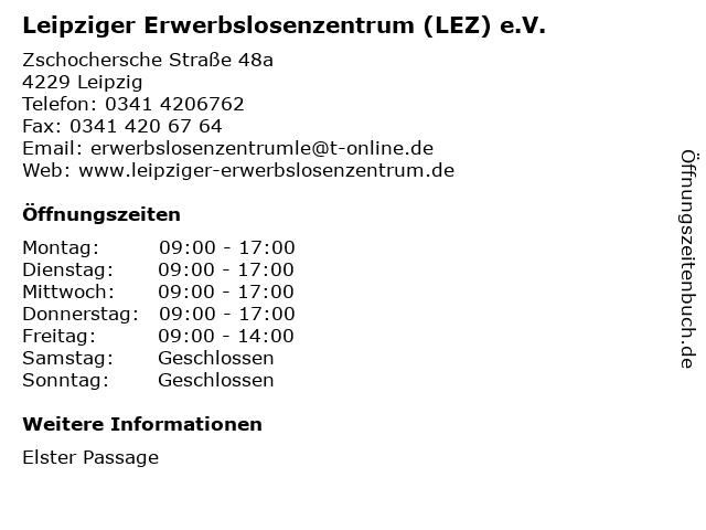 Leipziger Erwerbslosenzentrum (LEZ) e.V. in Leipzig: Adresse und Öffnungszeiten