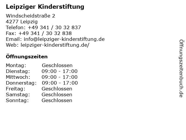 Leipziger Kinderstiftung in Leipzig: Adresse und Öffnungszeiten