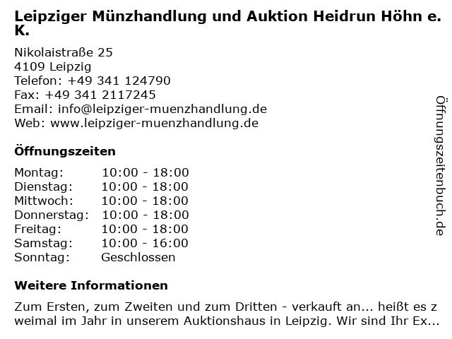 Leipziger Münzhandlung und Auktion Heidrun Höhn e.K. in Leipzig: Adresse und Öffnungszeiten