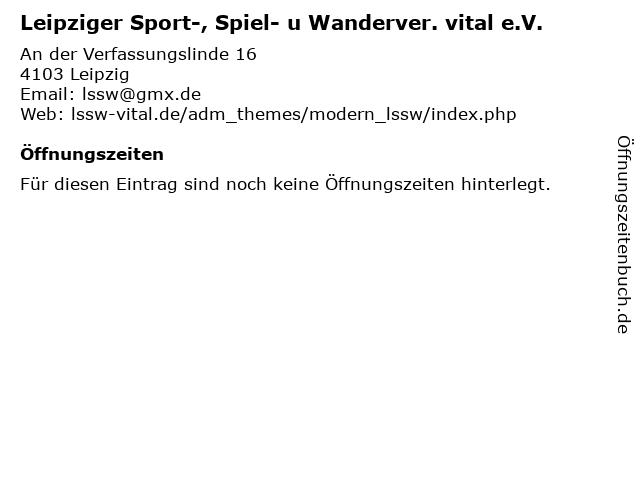 Leipziger Sport-, Spiel- u Wanderver. vital e.V. in Leipzig: Adresse und Öffnungszeiten