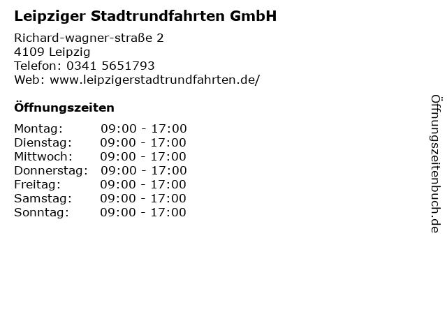 Leipziger Stadtrundfahrten GmbH in Leipzig: Adresse und Öffnungszeiten