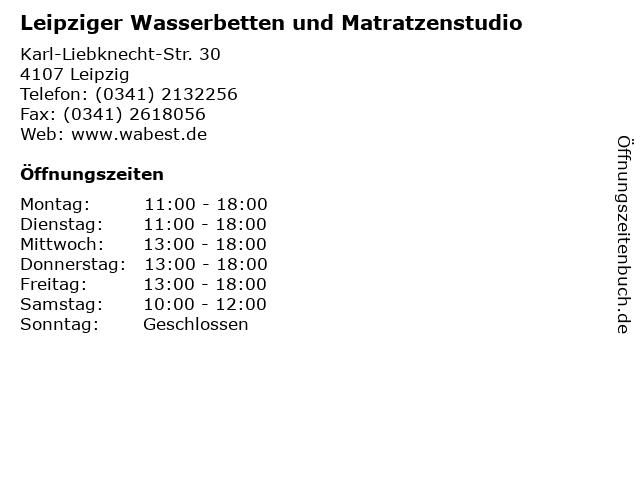 Leipziger Wasserbetten und Matratzenstudio in Leipzig: Adresse und Öffnungszeiten