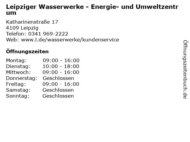 Leipziger Wasserwerke - Energie- und Umweltzentrum in Leipzig: Adresse und Öffnungszeiten
