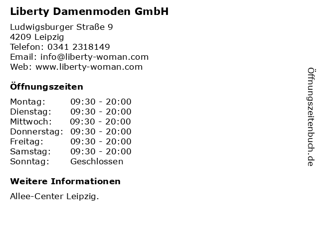 Liberty Damenmoden GmbH in Leipzig: Adresse und Öffnungszeiten