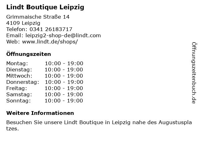Lindt Boutique Leipzig in Leipzig: Adresse und Öffnungszeiten
