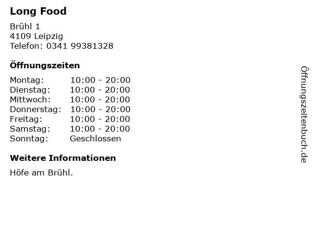 Long Food in Leipzig: Adresse und Öffnungszeiten