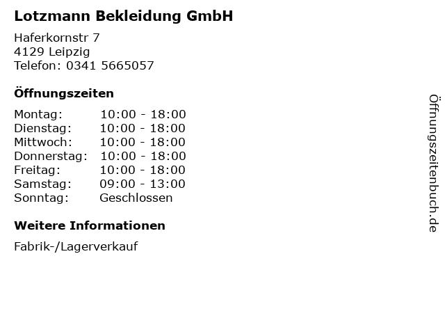 Lotzmann Bekleidung GmbH in Leipzig: Adresse und Öffnungszeiten