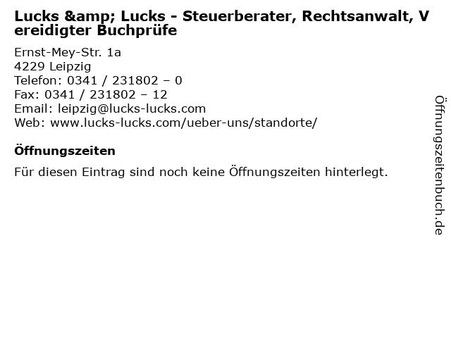 Lucks & Lucks - Steuerberater, Rechtsanwalt, Vereidigter Buchprüfe in Leipzig: Adresse und Öffnungszeiten