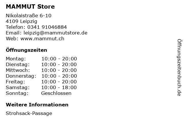 MAMMUT Store in Leipzig: Adresse und Öffnungszeiten