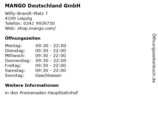 MANGO Deutschland GmbH in Leipzig: Adresse und Öffnungszeiten
