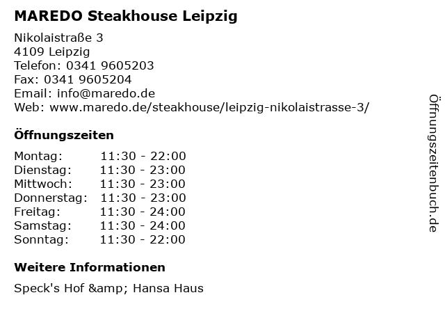 MAREDO Steakhouse Leipzig in Leipzig: Adresse und Öffnungszeiten