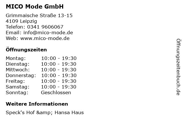 MICO Mode GmbH in Leipzig: Adresse und Öffnungszeiten