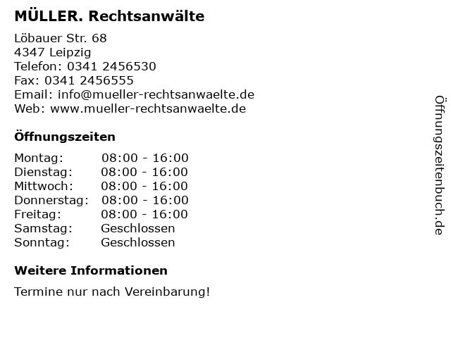 MÜLLER. Rechtsanwälte in Leipzig: Adresse und Öffnungszeiten