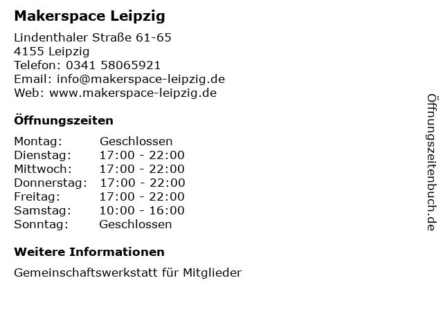 Makerspace Leipzig in Leipzig: Adresse und Öffnungszeiten