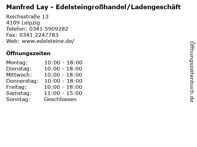 Manfred Lay - Edelsteingroßhandel/Ladengeschäft in Leipzig: Adresse und Öffnungszeiten