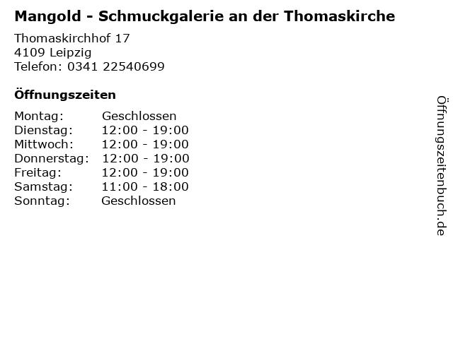 Mangold - Schmuckgalerie an der Thomaskirche in Leipzig: Adresse und Öffnungszeiten