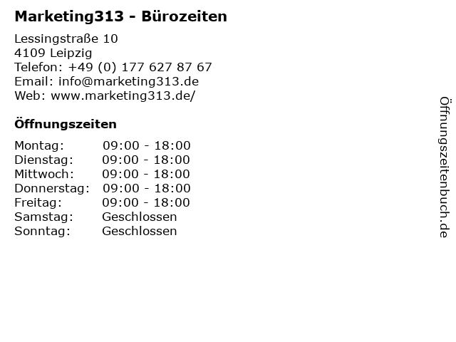 Marketing313 - Bürozeiten in Leipzig: Adresse und Öffnungszeiten
