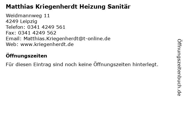 Matthias Kriegenherdt Heizung Sanitär in Leipzig: Adresse und Öffnungszeiten