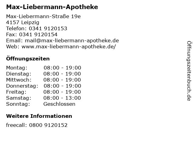 Max-Liebermann-Apotheke in Leipzig: Adresse und Öffnungszeiten