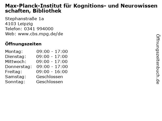 Max-Planck-Institut für Kognitions- und Neurowissenschaften, Bibliothek in Leipzig: Adresse und Öffnungszeiten