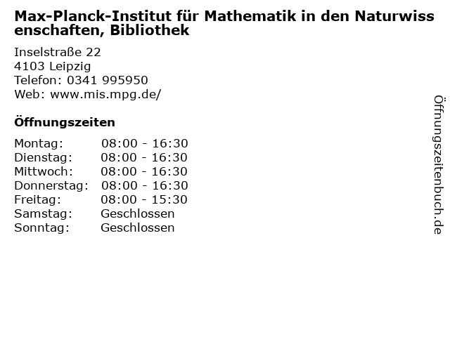 Max-Planck-Institut für Mathematik in den Naturwissenschaften, Bibliothek in Leipzig: Adresse und Öffnungszeiten