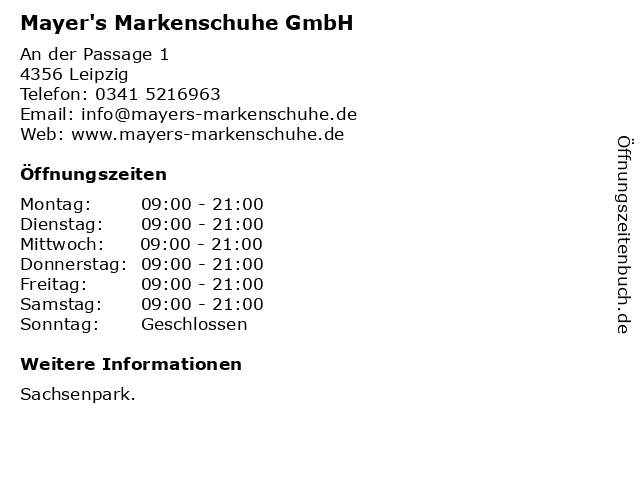 Mayer's Markenschuhe GmbH in Leipzig: Adresse und Öffnungszeiten