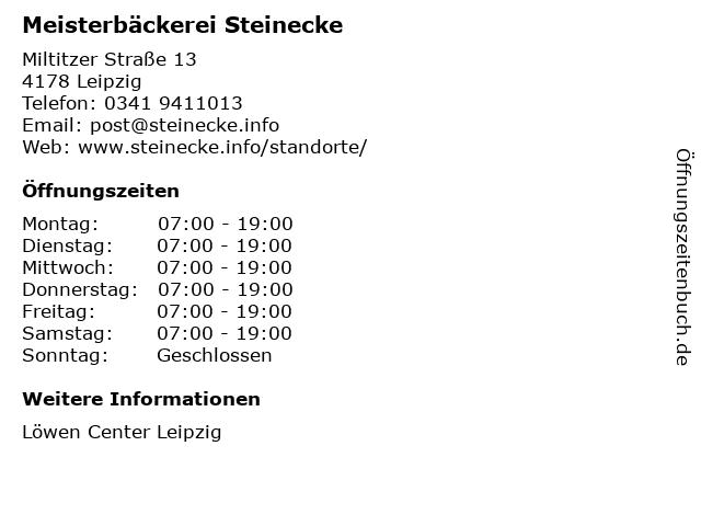 Meisterbäckerei Steinecke GmbH und Co. KG in Leipzig: Adresse und Öffnungszeiten