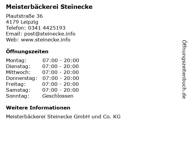Meisterbäckerei Steinecke in Leipzig: Adresse und Öffnungszeiten