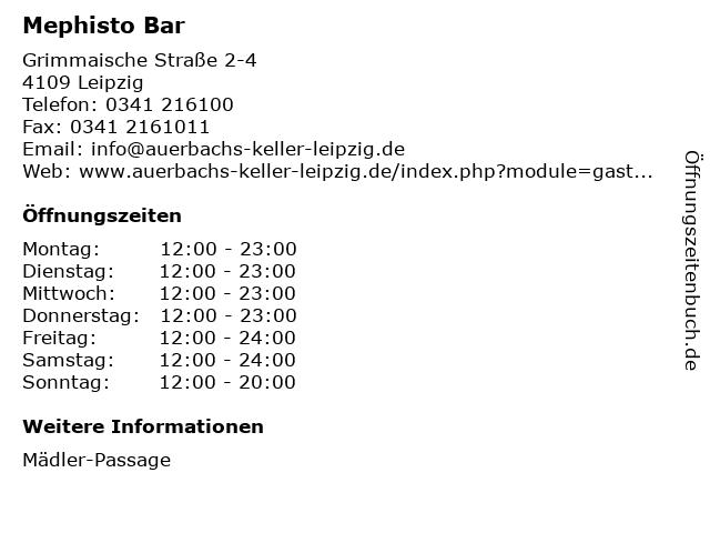 Mephisto Bar in Leipzig: Adresse und Öffnungszeiten