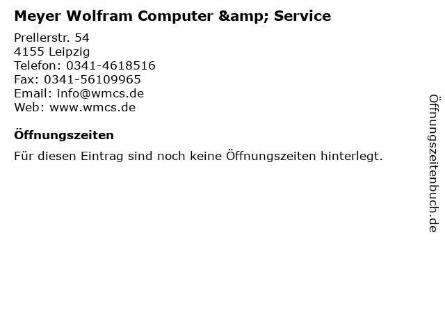 Meyer Wolfram Computer & Service in Leipzig: Adresse und Öffnungszeiten
