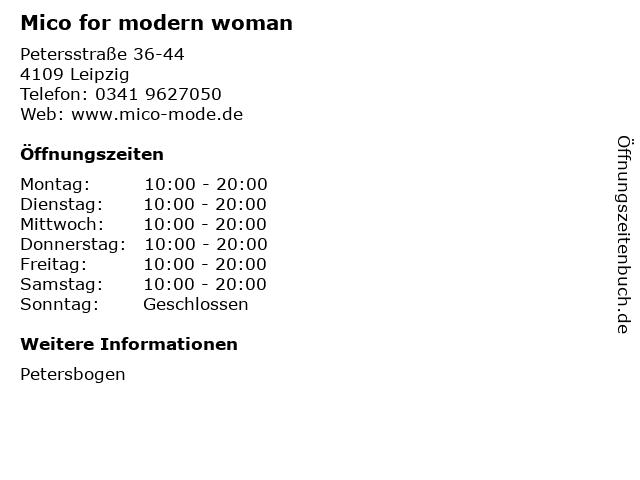 Mico for modern woman in Leipzig: Adresse und Öffnungszeiten
