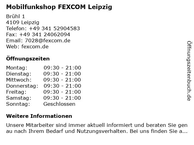 Mobilfunkshop FEXCOM Leipzig in Leipzig: Adresse und Öffnungszeiten