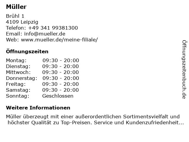 Müller Drogeriemarkt in Leipzig: Adresse und Öffnungszeiten