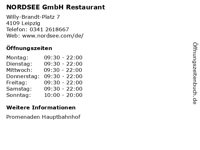 NORDSEE GmbH Restaurant in Leipzig: Adresse und Öffnungszeiten
