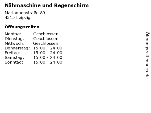 Nähmaschine und Regenschirm in Leipzig: Adresse und Öffnungszeiten