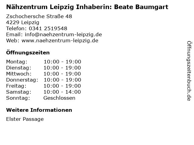 Nähzentrum Leipzig Inhaberin: Beate Baumgart in Leipzig: Adresse und Öffnungszeiten