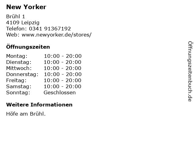 New Yorker Deutschland GmbH in Leipzig: Adresse und Öffnungszeiten