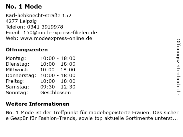 No. 1 Mode in Leipzig: Adresse und Öffnungszeiten