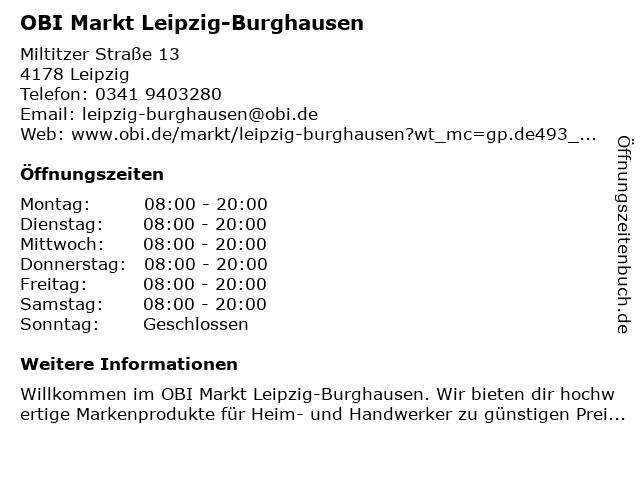 OBI Markt Leipzig-Burghausen in Leipzig: Adresse und Öffnungszeiten