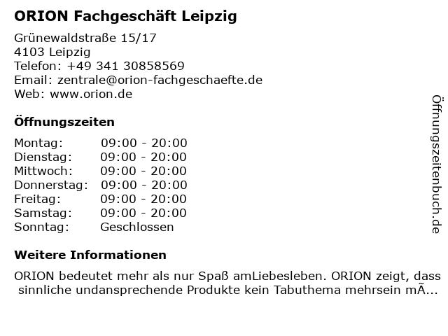 ORION Fachgeschäft Leipzig in Leipzig: Adresse und Öffnungszeiten