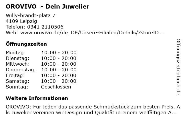 ORO VIVO AG in Leipzig: Adresse und Öffnungszeiten