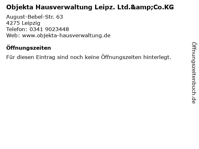 Objekta Hausverwaltung Leipz. Ltd.&Co.KG in Leipzig: Adresse und Öffnungszeiten