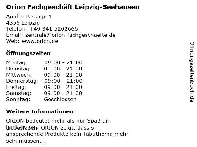 Orion Fachgeschäft Leipzig-Seehausen in Leipzig: Adresse und Öffnungszeiten